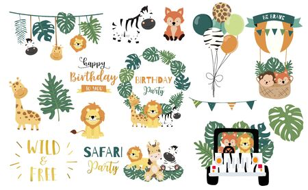 Safari object set with fox, giraffe, zebra, lion, leaves, car. illustration for logo, sticker, postcard, birthday invitation. Editable element