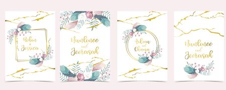 Pink green geometry wedding invitation with rose, feather and leaves. Vector birthday invitation for kid and baby. Editable element Illustration