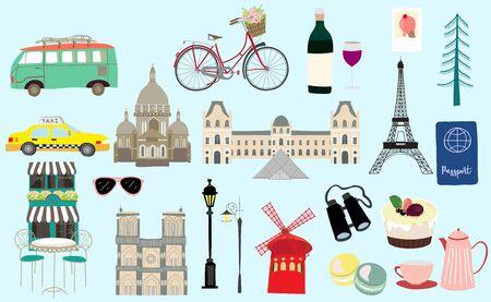 object set with dessert, passport, world, taxi, Paris