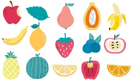 Cute fresh fruit object collection with papaya