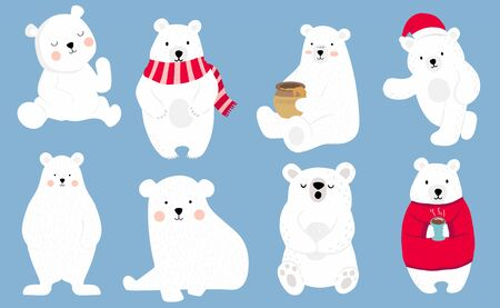 Simple white bear character wear red sweater. Use for Christmas invitation, printable, sticker. Vector illustration character doodle cartoon