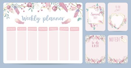 cute weekly planner background Vectores