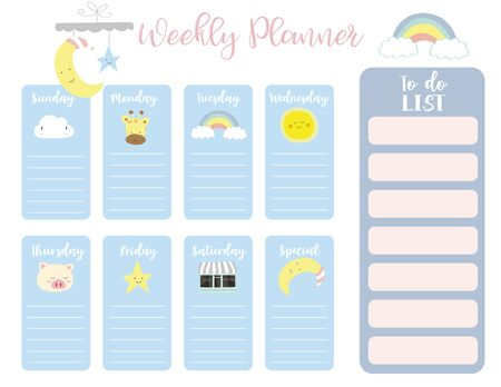 cute weekly planner background with sun, rainbow, rain, cloud. Vector illustration for kid and baby. Editable element