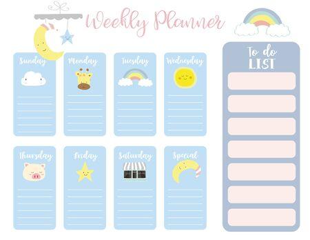 fond de planificateur hebdomadaire mignon avec soleil, arc-en-ciel, pluie, nuage. Illustration vectorielle pour enfant et bébé. Élément modifiable