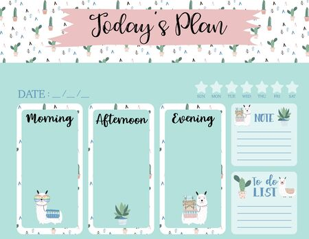 cute today plan background with llama, cactus, star. Vector illustration for kid and baby. Editable element