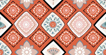 geometric seamless pattern in African style with square, tribal shape Banque d'images - 131778941