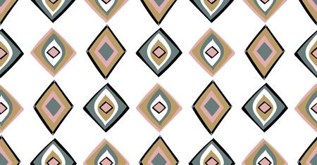 geometric seamless pattern in African style with square, tribal shape