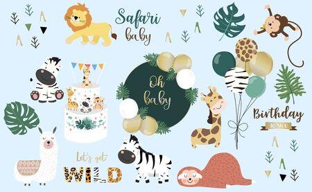 Safari-Objekt mit Affen, Giraffen, Zebras, Löwen, Ballons. Illustration Vektorgrafik
