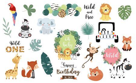 Safari object set with fox, giraffe, zebra, lion, leaves, elephant. illustration Editable element