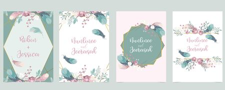 Pink green gold geometry wedding invitation with rose, flower and leaves. Vector birthday invitation for kid and baby. Editable element