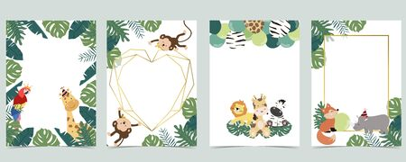 Green collection of jungle frame set with leaf, leaves, parrot, monkey, balloon vector illustration for birthday invitation, postcard, logo and sticker