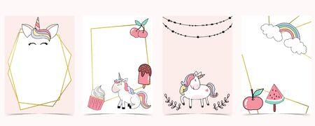 Pink animal collection of unicorn empty frame set Stock Illustratie