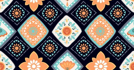 orange green blue geometric seamless pattern in African style with square, tribal, circle shape Stock Illustratie