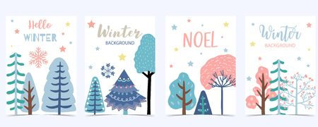 Collection of winter background set with tree, snowflake, snow. Editable vector illustration for birthday invitation, postcard and website banner