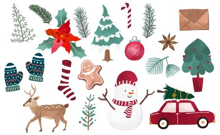 Watercolor Christmas object collection with christmas tree, ball, reindeer. Vector illustration for icon, logo, sticker, printable