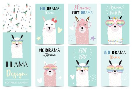 Collection of animal background set with llama, cactus. Editable vector illustration for birthday invitation, postcard and sticker. Wording include llama not drama Stock Illustratie