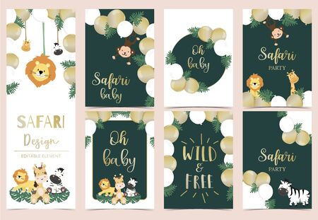 Collection of safari background set with giraffe, balloon, zebra, lion, gold. Editable vector illustration for birthday invitation, postcard and sticker. Wording include wild and free