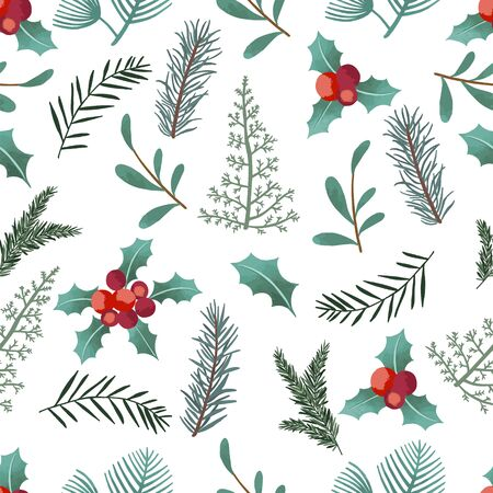 Watercolor Christmas background with holly leaf. Vector illustration seamless pattern for background