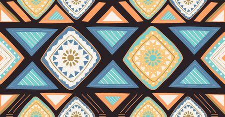 orange green blue geometric seamless pattern in African style Stock Illustratie