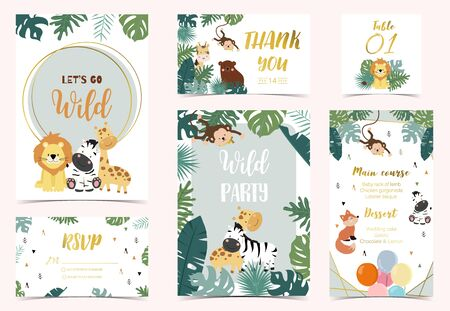 Collection of safari background set with giraffe, fox, monkey, zebra. Vector illustration for birthday invitation,postcard and sticker. Wording include let's go wild. Editable element