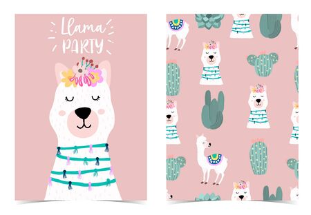 Collection of animal background set with llama, cactus, pink. Editable vector illustration for birthday invitation, postcard and sticker. Wording include llama not drama Stock Illustratie