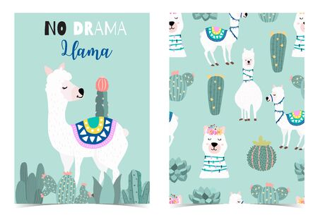 Collection of animal background set with llama, cactus, green. Editable vector illustration for birthday invitation, postcard and sticker. Wording include llama not drama
