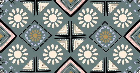 cream, brown, green, black geometric seamless pattern in African style with square, tribal shape
