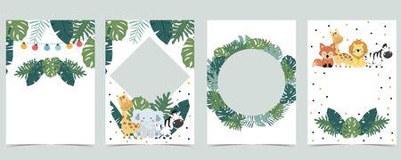 Green animal collection of safari empty frame set