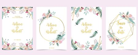 Pink green gold geometry wedding invitation with rose,flower and leaves.Vector birthday invitation for kid and baby.Editable element Illustration