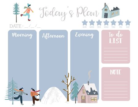 cute today plan background with house, snow, people, tree. Vector illustration for kid and baby. Editable element