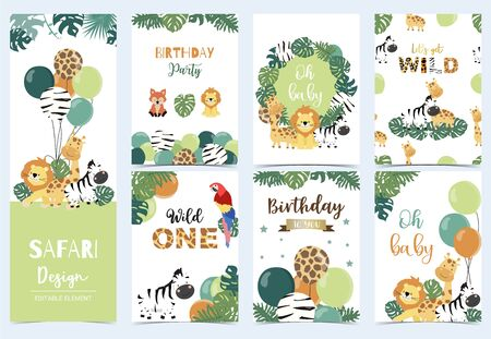 Collection of safari background set Illustration