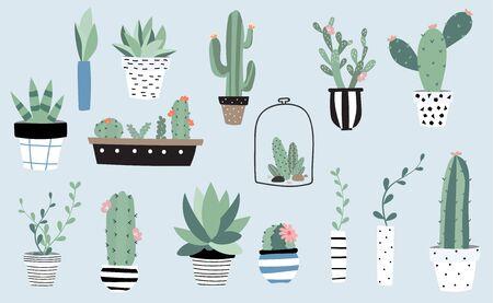 Tree object set with cactus, plant. illustration for logo, sticker, postcard, birthday invitation. Editable element