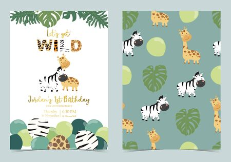 Collection of safari background set with giraffe, balloon, zebra, green. Editable vector illustration for birthday invitation, postcard and sticker. Wording include wild and free