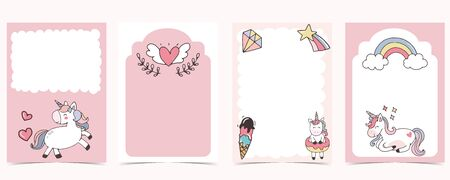 Pink animal collection of unicorn empty frame set with rainbow, diamond. Vector illustration for birthday invitation, postcard, logo and sticker. Editable element Stock Illustratie