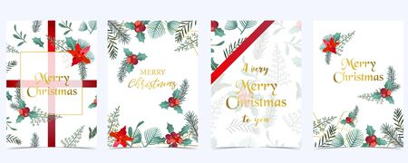 Collection of Christmas background set with holly leaves, flower, ribbon. Editable vector illustration for New year invitation, postcard and website banner