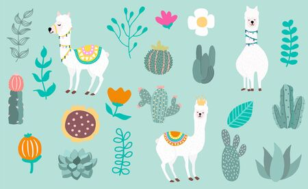 Animal object collection with llama, cactus. Vector illustration for icon, logo, sticker, printable. Editable element