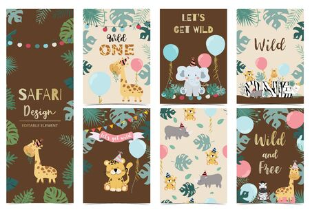 Collection of safari background set Stock Illustratie