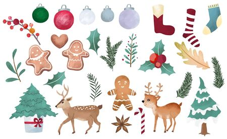 Watercolor Christmas object collection with christmas