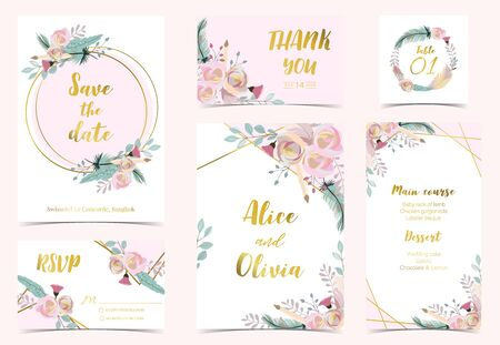 Pink green gold geometry wedding invitation with rose,flower,circle and leaves.Vector birthday invitation for kid and baby.Editable element