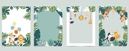 Green animal collection of safari empty frame set with lion, giraffe. Vector illustration for birthday invitation, postcard, logo and sticker