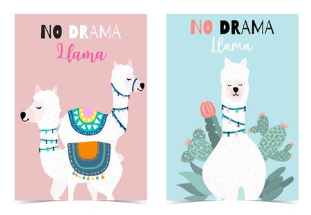 Collection of animal background set with llama, cactus, green, pink. Editable vector illustration for birthday invitation, postcard and sticker. Wording include llama not drama