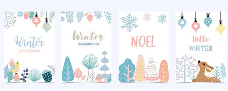 Collection of winter background set