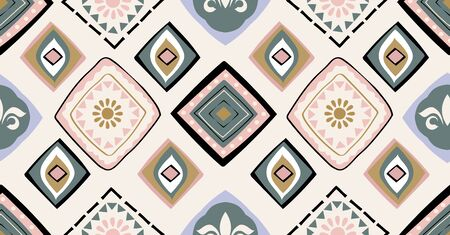 pink, yellow, black geometric seamless pattern in African style with square, tribal shape