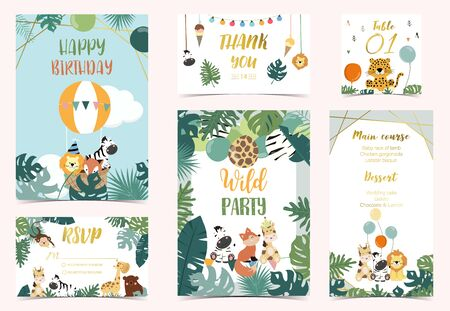 Collection of safari background set with giraffe, balloon, zebra, leopard. Vector illustration for birthday invitation, postcard and sticker. Wording include wild party. Editable element