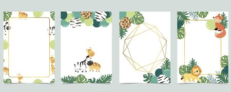 Green collection of jungle frame set with leaf, leaves, fox, lion, balloon vector illustration for birthday invitation, postcard, logo and sticker