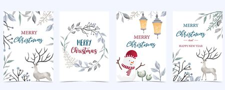 Collection of Christmas background set with leaves, flower, reindeer. Editable vector illustration for New year invitation, postcard and website banner