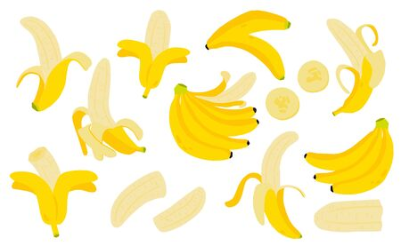 Cute banana fruit object collection. Whole, cut in half, sliced on pieces banana. Vector illustration Stock Illustratie