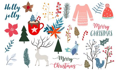 Doodle Christmas object collection with pine cone, reindeer, candy. Vector illustration