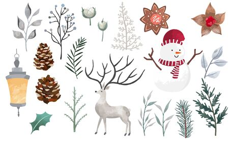 Watercolor Christmas object collection with christmas tree, snowman, reindeer. Vector illustration