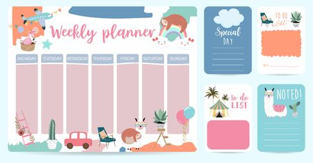 cute weekly planner background with sloth,rainbow,llama,cloud.Vector illustration for kid and baby.Editable element
